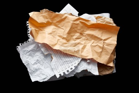 Photo for Top view of empty crumpled papers isolated on black - Royalty Free Image