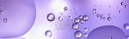 Photo for Panoramic shot of abstract purple color texture from mixed water and oil bubbles - Royalty Free Image
