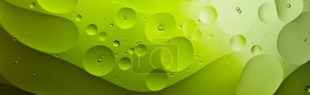 panoramic shot of Beautiful green color abstract background from mixed water and oil