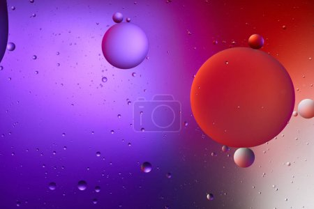 Photo for Abstract purple and red color texture from mixed water and oil bubbles - Royalty Free Image