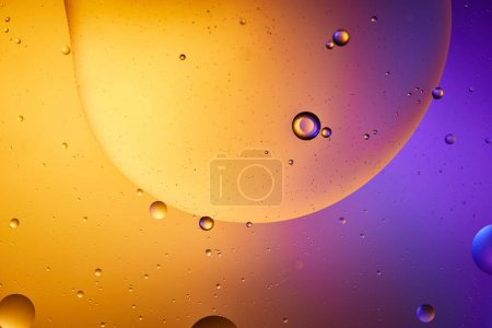 Photo for Beautiful abstract background from mixed water and oil in orange and purple color - Royalty Free Image