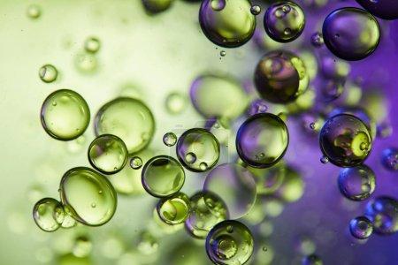 Photo pour Couleur créative pourpre et verte fond abstrait à partir de bulles d'eau et d'huile - image libre de droit