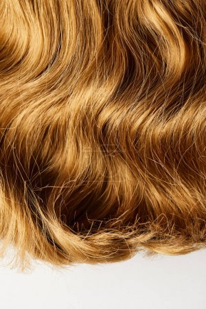 Top view of wavy brown hair isolated on white
