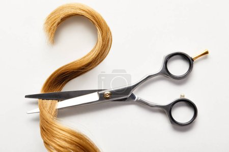 Top view of strand of brown hair with scissors on white background