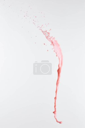 fresh pink milk splash with drops isolated on white