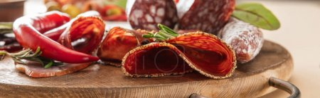 Photo for Delicious meat platters served with rosemary and chili pepper on wooden board on beige background, panoramic shot - Royalty Free Image