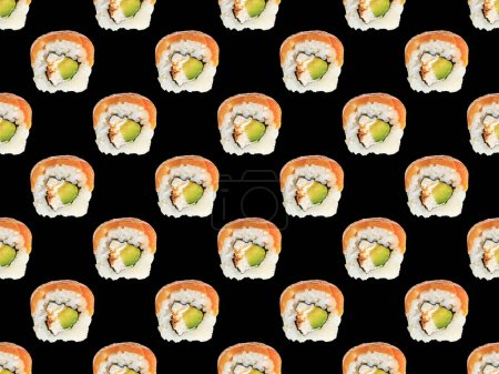 Photo for Seamless pattern of delicious Philadelphia sushi with salmon isolated on black - Royalty Free Image