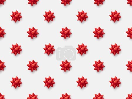 Photo for Top view of red decorative bows isolated on white, seamless pattern - Royalty Free Image
