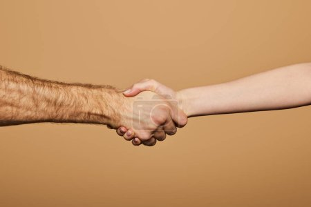 cropped view of man and woman shaking hands isolated on beige