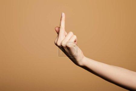 Foto de Vista rota de la mujer con el dedo medio aislado sobre la colza - Imagen libre de derechos