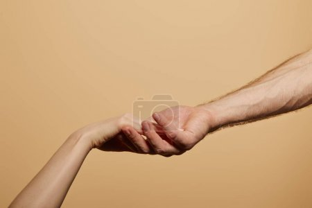 Photo for Cropped view of man holding woman hand isolated on beige - Royalty Free Image