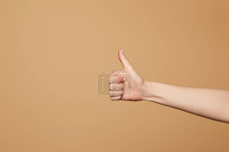 cropped view of woman showing thumb up isolated on beige