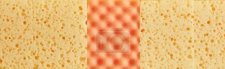 Photo pour Photo panoramique d'éponges jaunes et oranges pour le nettoyage de la maison - image libre de droit