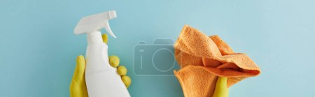 panoramic shot of housekeeper in rubber gloves holding spray bottle and rag on blue