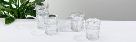 Photo pour Verres à facettes d'eau douce sur la table blanche près de verdoyante plante de lis de la paix, vue panoramique - image libre de droit