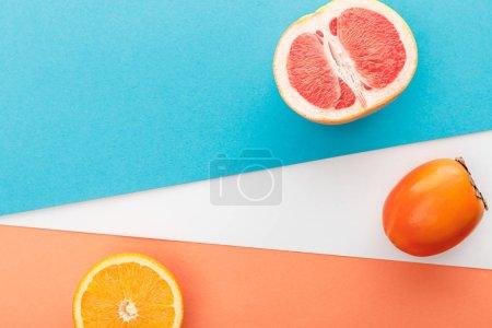 Photo pour Vue de dessus de la moitié de pamplemousse, tranche d'agrumes et de kaki sur fond bleu, orange et blanc - image libre de droit