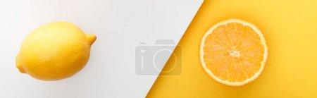 Photo pour Vue de dessus de la moitié orange et citron sur fond jaune et blanc, panoramique - image libre de droit