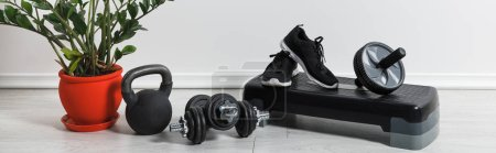 panoramic shot of sports stuff and sneakers at home with houseplant
