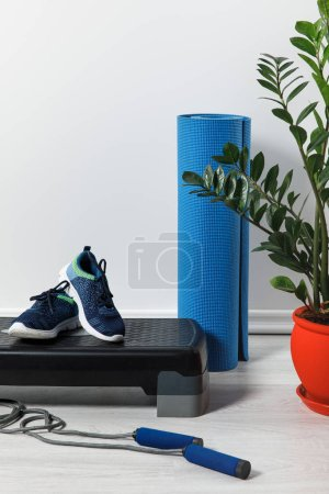 Photo for Step platform, fitness mat, skipping rope and sneakers on floor with houseplant - Royalty Free Image