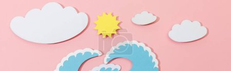 Photo for Top view of paper cut sea waves, clouds and sun on pink background, panoramic shot - Royalty Free Image