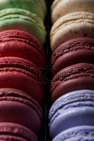 Photo for Close up view of assorted delicious colorful french macaroons - Royalty Free Image
