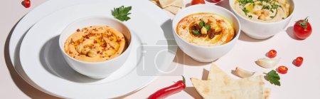 Teller und Schalen mit Humus, Gemüse und Fladenbrot auf grauem, panoramischem Bild