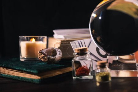 Photo for Occult and mystical objects isolated on black - Royalty Free Image