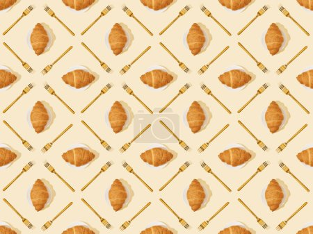 Photo for Top view of golden forks and croissants on beige, seamless background pattern - Royalty Free Image