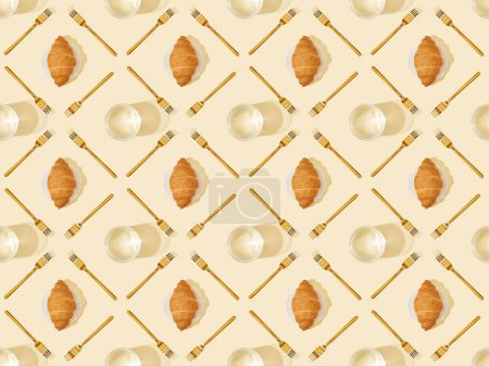 Photo for Top view of golden forks, glasses of water and croissants on beige, seamless background pattern - Royalty Free Image