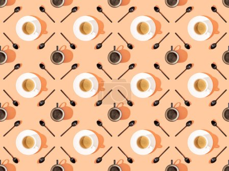 Photo for Top view of cups of fresh coffee on plates and spoons on orange, seamless background pattern - Royalty Free Image
