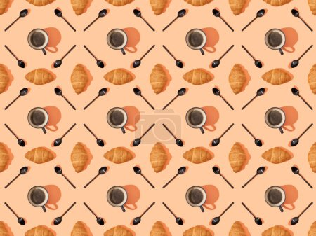 top view of spoons, fresh croissants and coffee on orange, seamless background pattern