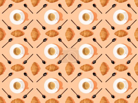 top view of spoons, fresh croissants on plates and coffee on orange, seamless background pattern