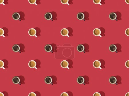 Photo for Top view of cups of fresh coffee on red, seamless background pattern - Royalty Free Image