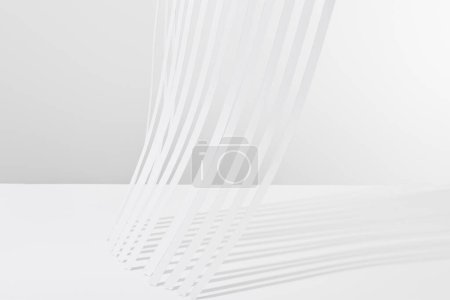 Photo for Close up view of paper stripes with shadow on white background - Royalty Free Image