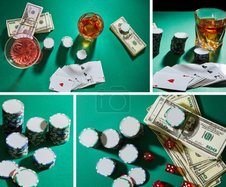 Photo for Collage of casino tokens, dice, playing cards and glasses of cocktail and cognac on green background - Royalty Free Image
