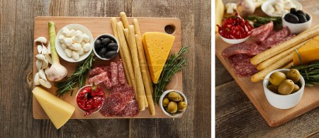 Collage of boards with antipasto ingredients on wooden background, panoramic shot