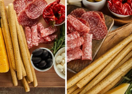 Collage of boards with breadsticks, salami slices and antipasto ingredients