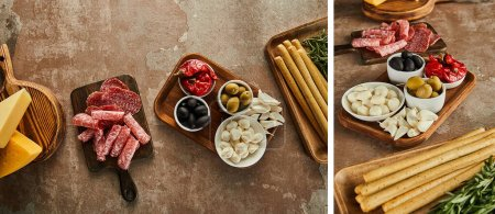 Photo for Collage of antipasto ingredients on brown background - Royalty Free Image
