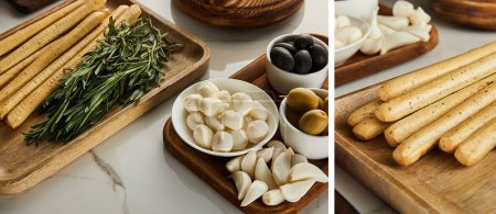 Photo for Collage of boards with antipasto ingredients on white, panoramic shot - Royalty Free Image