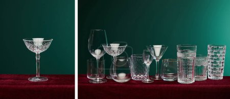 Photo for Collage of set of cocktail glasses isolated on green - Royalty Free Image