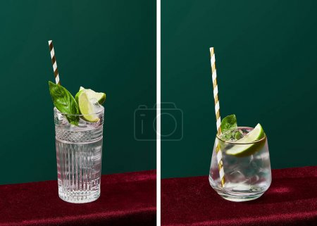 collage of glasses with drink with ice, mint, lime and striped drinking straw isolated on green
