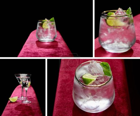 collage of shot glass and cocktail glass with fresh cold mojito, mint and lime slice isolated on black