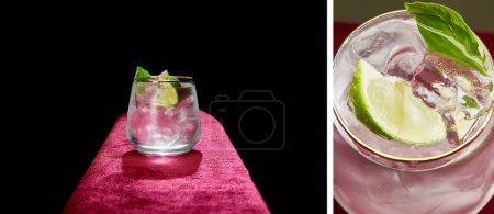Collage aus Mojito mit Limette, Minze und Eiswürfeln in altmodischem Glas auf schwarzem und grauem Hintergrund