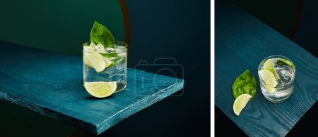 Photo for Collage of old fashioned glass with fresh drink, mint leaf and lime slice on blue wooden surface on green and blue geometric background - Royalty Free Image