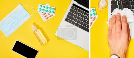 collage of man holding napkin near laptop, smartphone with blank screen, pills, hand sanitizer and medical mask on yellow