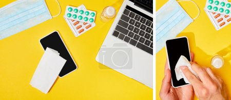 collage of man holding napkin near smartphone with blank screen, laptop, pills, hand sanitizer and medical mask on yellow