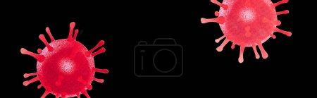 Photo for Panoramic shot of red drawn virus isolated on black - Royalty Free Image