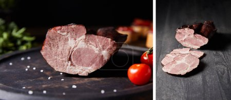 collage of tasty homemade ham on board with cherry tomatoes and on wooden table