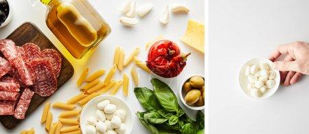 Collage der männlichen Hand mit Schüssel mit Mozzarella und Flasche Olivenöl mit Fleischplatte und Zutaten auf weißem, panoramischem Foto