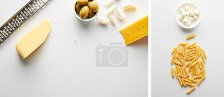 Collage aus Reibe, Käse und Knoblauch in der Nähe von Schüssel mit Oliven und Nudeln in der Nähe von Schüssel mit Mozzarella auf weißem, panoramischem Foto